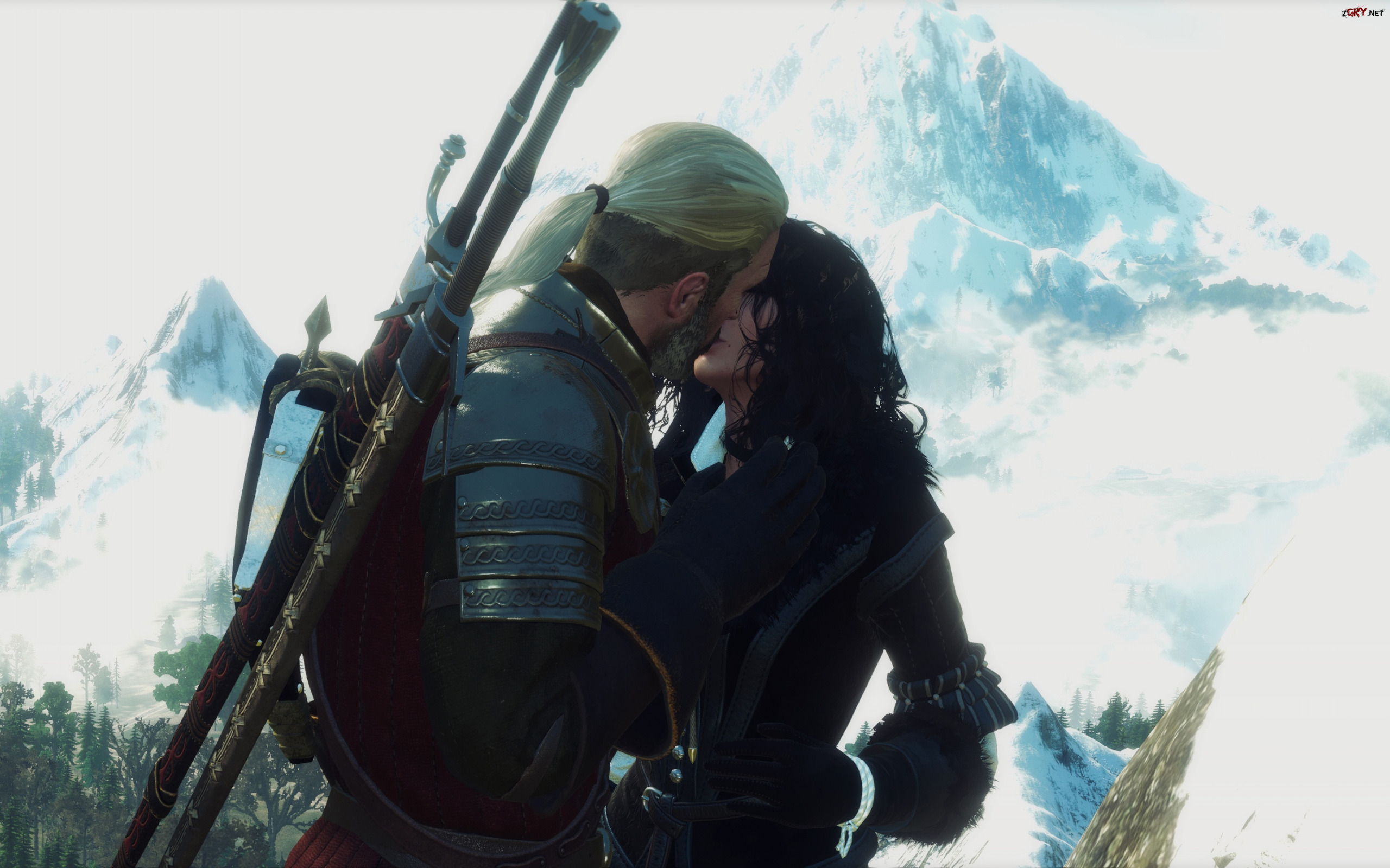 Gra, The Witcher 3 Wild Hunt, Wiedźmin 3 Dziki Gon, Geralt, Yennefer, Pocałunek